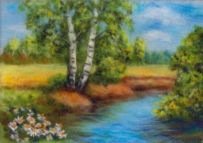 Woolen watercolor set - forest stream