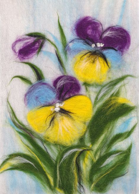 Painting wool kit - Elegant pansies