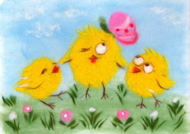 Painting wool kit - funny chicks