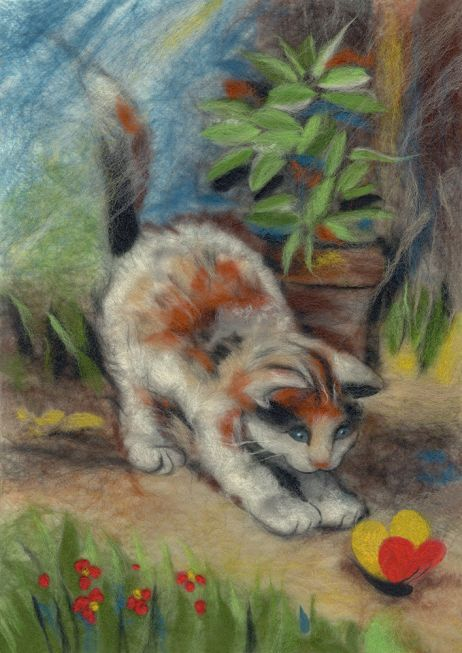 Painting wool kit - playful kitten